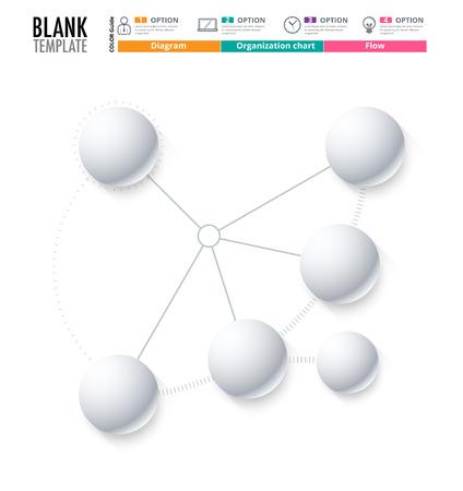 Diagrammvorlage, Organigramm-Vorlage. Flow-Vorlage, leeres Diagramm für Text, weißer Farbe, Kreis Diagramm, Vektor stock Design ersetzen. (leer) Standard-Bild - 58753897