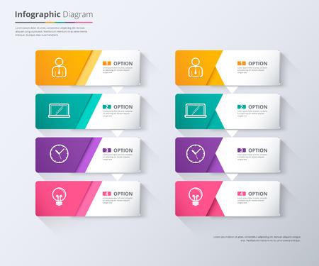 work flow: Label infographic design, work flow diagram, step down concept, vector stock.