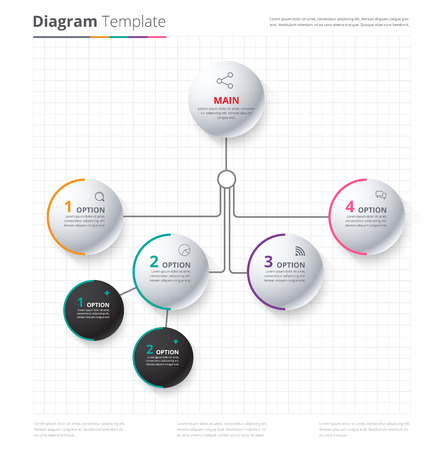 Diagrama de la plantilla, plantilla de la Organización. plantilla de flujo, diagrama en blanco para reemplazar el texto, color blanco, Diagrama del círculo, diseño del vector de valores.