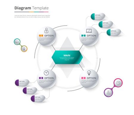 다이어그램 템플릿, 조직도 템플릿입니다. 흐름 템플릿, 텍스트, 화이트 색상, 원도, 벡터 stock 디자인을 교체 빈도.