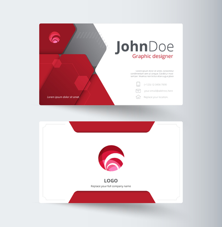 Red abstract business contact card template design. abstract background. vector stock.