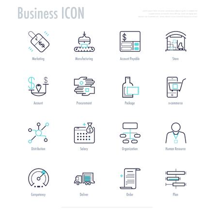 ビジネス アクティビティのアイコンを設定します。エンタープライズ リソース プランニング プロセスのアイコン。ベクター素材