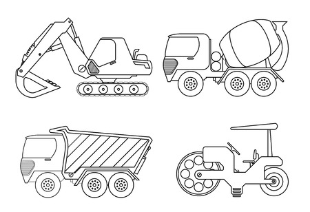 Coloring book for kids Vector illustration of crane car, cement truck,rollor