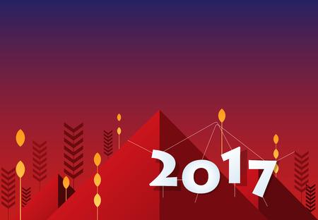 Year 2017 background design. Flat banner and background design.