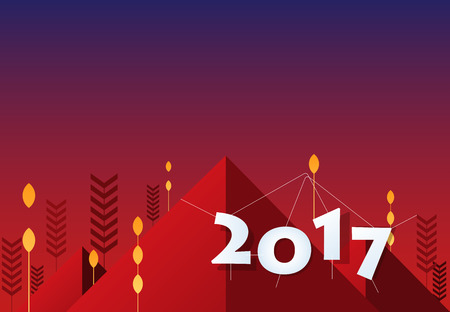 moutain: Year 2017 background design. Flat banner and background design.