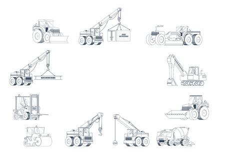 Heavy construction machine background. vector machinery set. Vetores