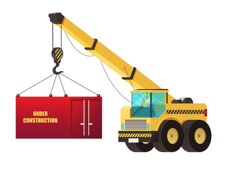 Crane truck. under construction concept. heavy construction vector.