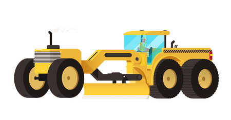 earth mover: Motor grader. Heavy equipment vehicle isolated color vector illustration.