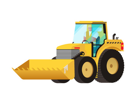 truck tractor: Yellow tractor. Agricultural transport. Big wheels. Self-moving car. Farmer equipment. Vector car. Truck tractor. Industrial vehicle