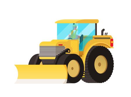 Tractor amarillo. el transporte agrícola. Las ruedas grandes. Auto-coche en movimiento. equipo para la agricultura. Coche del vector. camión tractor. de vehículos industriales