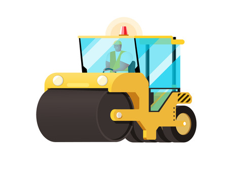pave: Asphalt compactor in flat style. Vector icon of road roller compactor. Road roller vector.