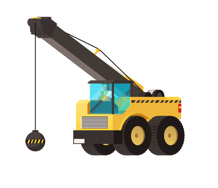 Wrecking ball crane, heavy machinery vector illustration