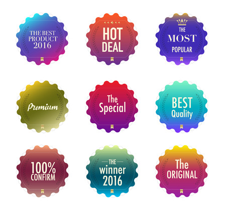 testify: Set of promotion and maketting label. Badge design. vector stock. Illustration