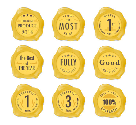 fully: Set of wax stamp. Stamp on gold Wax Seal Isolated on White. Business Concept. vector stock. Illustration