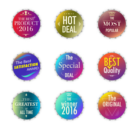 Set of promotion and maketting label. Badge design. vector stock. Ilustrace