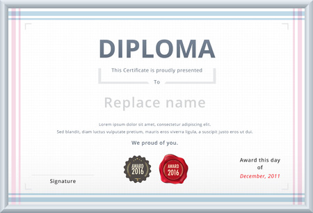 Diploma template with wax stamp. Soft color tone design for corporate. vector template. Vektorové ilustrace