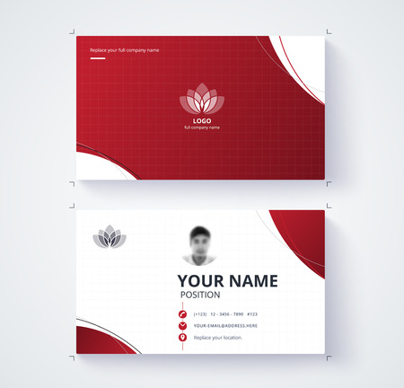 comunity: Red business card template with sample logo design. vector card. Illustration