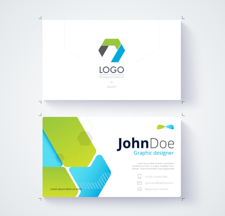 comunity: Green and blue graphic business card template. Card design.