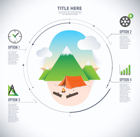 moutain: Travel and camping infographic diagram. Journey vector illustration.
