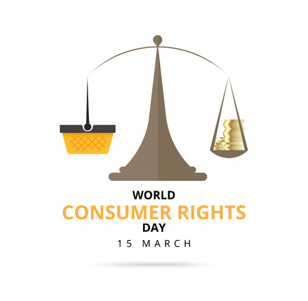 World consumer rights day 15 march. logo design. vector stock.