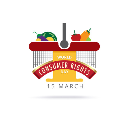 consumer rights: World consumer rights day 15 march. logo design. vector stock.