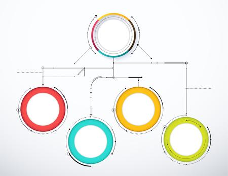 Digital diagram style. Diagram and flow chart of technology concept, presentation. Vector illustration. Ilustração Vetorial