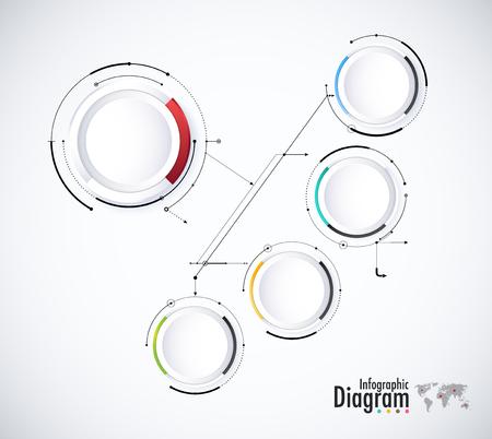 Digitale diagramstijl. Diagram en stroomschema van technologieconcept, presentatie. Vector illustratie. Stock Illustratie