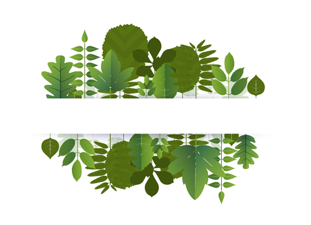 Banner of leaf blank center space for text. vector illustration. Illustration