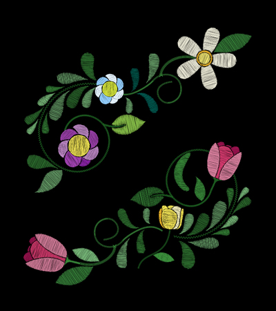 Embroidery tulip flower designs. Collection of quilted elements for patches and stickers.