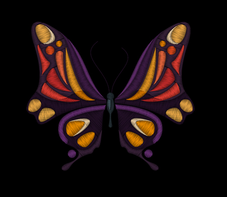 Embroidery butterfly design for embroidery, patches and stickers. vector embroidery. Illustration