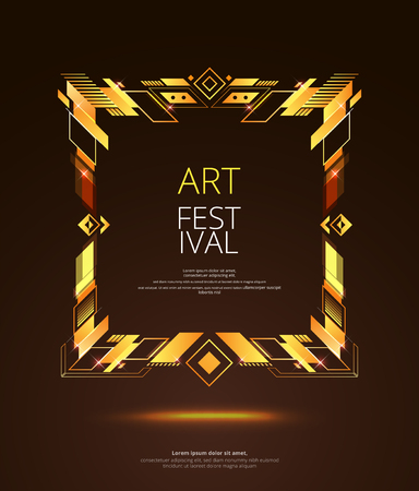 Vector frame for text Modern Art graphics for hipsters . dynamic frame stylish geometric black background with gold. element for design business cards, invitations, gift cards, flyers and brochures Stock Illustratie
