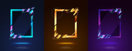 Diseño del marco para el texto Gráficos del arte moderno para los inconformistas. fondo negro geométrico elegante del marco dinámico. elemento para las tarjetas de visita del diseño, las invitaciones, las tarjetas del regalo, los aviadores y los folletos. Foto de archivo - 80312106