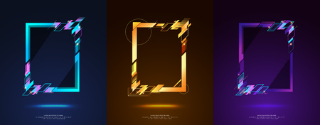 Frame design for text Modern Art graphics for hipsters. dynamic frame stylish geometric black background. element for design business cards, invitations, gift cards, flyers and brochures. Stock Vector - 80312106