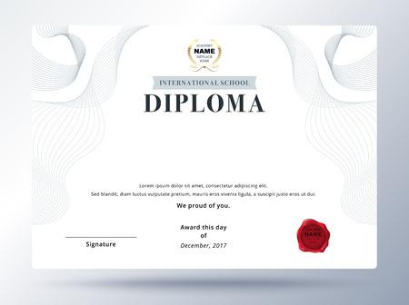 Diplomschablonendesign mit einfachem Konzept. Bildungsabschluss Design. Vektorgrafik