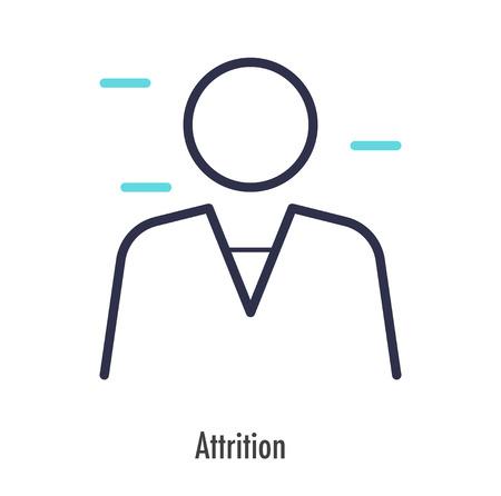 Attrition icon thin line. vector symbol on white background. Illustration