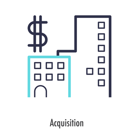 Acquisition icon thin line style. vector symbol