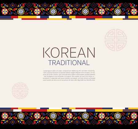 Korean traditional frame for replace text. vector illustration