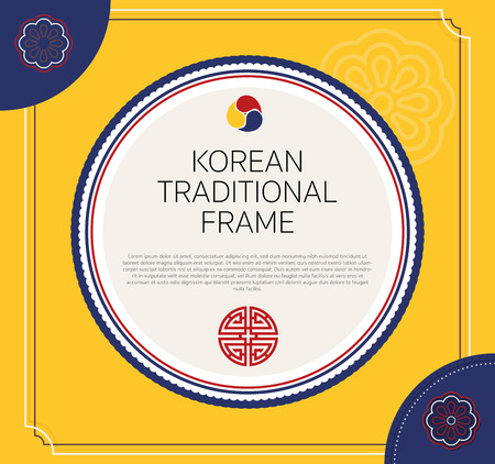 Korean traditional circle frame design. vector illustration.
