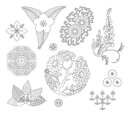 Asiatisches traditionelles Design, Druckkunstsymbol von Asien. Vektor-Illustration Standard-Bild - 93937712