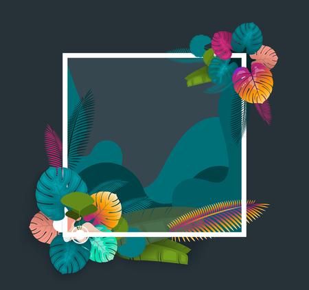 Tropical Frame Design für Sommer Einladung Standard-Bild - 93981142