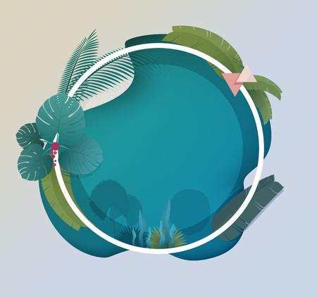 Tropical Frame Design für Sommer Einladung Standard-Bild - 93981147