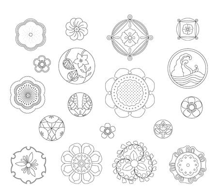 Asiatisches traditionelles Design, Druckkunstsymbol von Asien. Vektor-Illustration Standard-Bild - 93938014