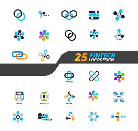 25 Modern icon set for digital finance industry.
