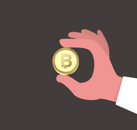 Bitcoin in hand concept. Cryptocurrency design. vector stock. Ilustracja