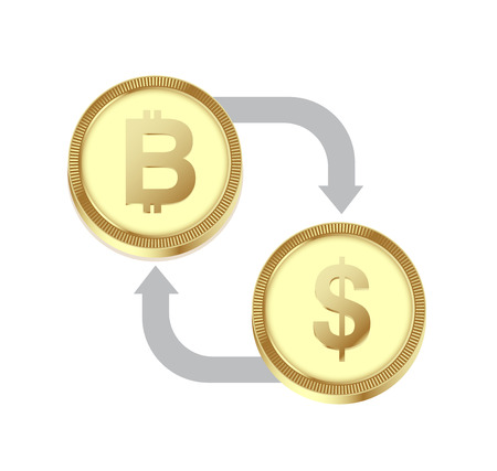 Bitcoin exchange currency. Cryptocurrency exchange concept. Standard-Bild - 97368686