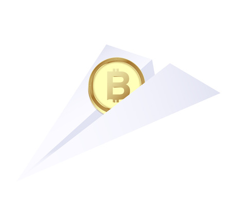 Bitcoin payment concept. Sent money by cryptocurrency. vector illustration Standard-Bild - 97368692
