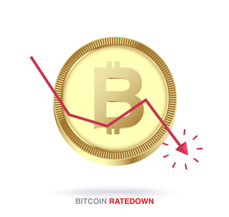 Bitcoin exchange rate down concept. vector illustration