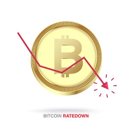 Bitcoin exchange rate down concept. vector illustration Standard-Bild - 97368694