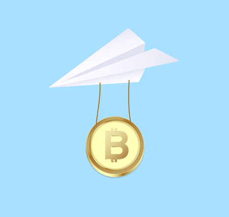 Bitcoin payment concept. Sent money by cryptocurrency. vector illustration Ilustracja