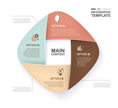 Infographic template for business presentation with soft color. Layered 4 option sample content. Standard-Bild - 97370464